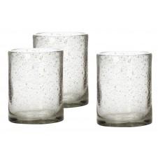 small glass hurricane set