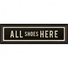 """all shoes here"" street sign"