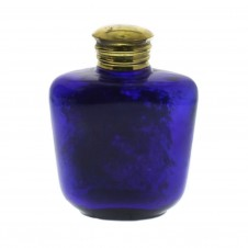 small vintage blue glass bottle