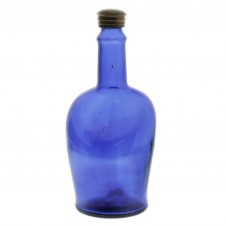 large vintage blue glass bottle