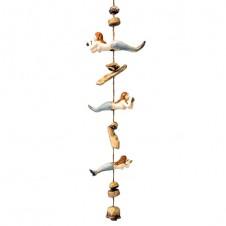 ceramic mermaid bell drop wind chime