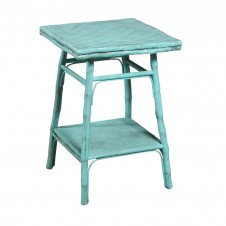 antique turquoise square side table