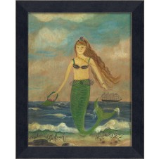 """babe on the beach"" mermaid art"