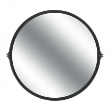homart round black waxed pivot iron mirror, large
