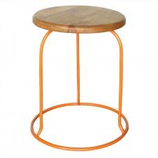 homart graham iron and wood stool, orange