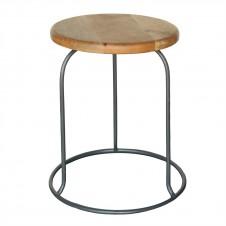 homart graham iron and wood stool, grey