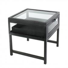 homart curio iron coffee table, black waxed