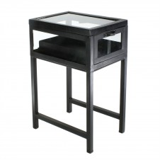 homart curio iron side table, black waxed