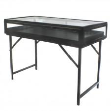 homart curio console table, black waxed