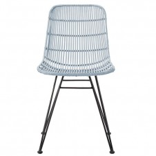 sky blue braided rattan chair