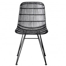 black braided rattan chair