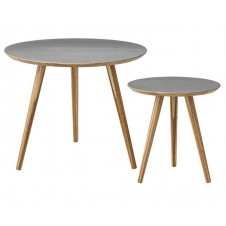 natural & grey round bamboo nesting tables
