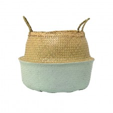natural & sky blue seagrass basket w/ handles