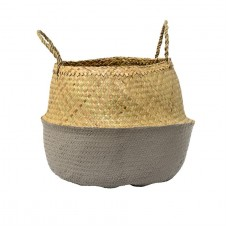 natural & grey seagrass basket w/ handles