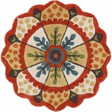 azalea collection red & ivory round rug