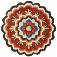 azalea collection dark brown & red round rug