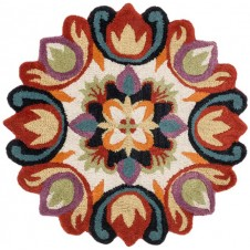azalea collection red multi round rug