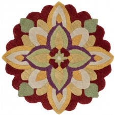 azalea collection red & yellow round rug
