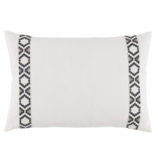 lacefield oyster linen with gunmetal on white camden tape lumbar pillow