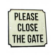 homart cast iron please close the gate sign