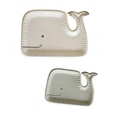 ceramic whale platters set of 2
