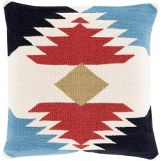 surya cotton kilim navajo pillow in dark red