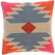 surya cotton kilim navajo pillow in rose