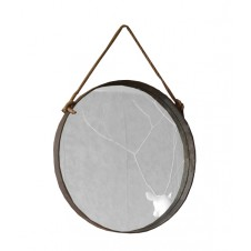 large round metal frame mirror w/ rope hanger