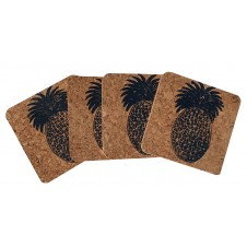 pineapple cork coaster set