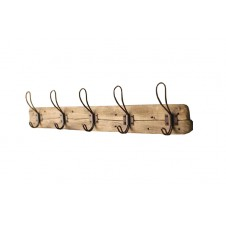 recycled wooded coat rack w/ rustic hooks