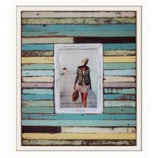 rustic beach striped boatwood frame