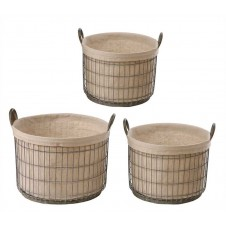 metal baskets w/ fabric liner set of 3