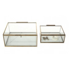 antique brass & beveled glass display boxes