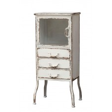 distressed white metal cabinet