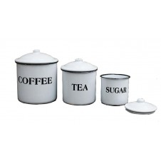 """enameled """"coffee tea sugar"""" containers"""
