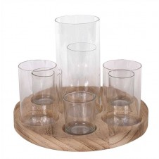 round wood tray with glass votive holders / vases