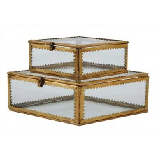 glass and metal boxes, set of 2