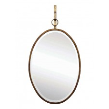 oval wall mirror w/ bracket, bronze