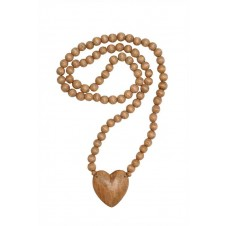 hand carved wood beads w/ heart