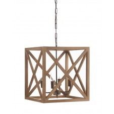 square metal and wood chandelier