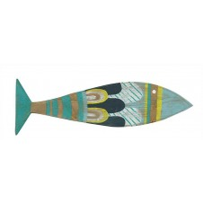 hand painted reclaimed wood fish