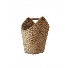 braided oval tissue basket w/wood handle