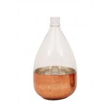 glass & copper balloon vase