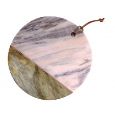 round pink marble & mango wood cheese board