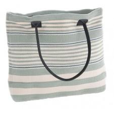 dash & albert rugby stripe light blue tote bag