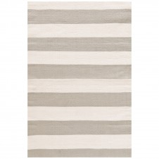 dash & albert catamaran stripe platinum ivory indoor/outdoor rug