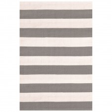 dash & albert catamaran stripe fieldstone ivory indoor/outdoor rug