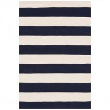 dash & albert catamaran stripe navy indoor/outdoor rug