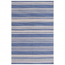 dash & albert cottage stripe french blue wool woven rug
