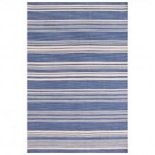 dash & albert cottage stripe french blue wool woven rug